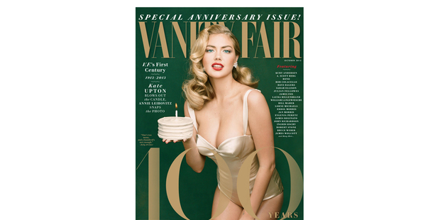 'Vanity Fair' celebrates their 100th anniversary with Annie Leibovitz cover of Kate Upton. Photo / Vanity Fair
