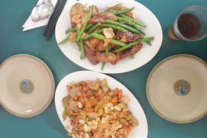 Hot and spicy chicken with peanuts and stir-fry beans with eggplant.Photo / Nicky Park