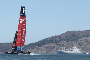 SHOWDOWN: Emirates Team New Zealand will race tomorrow,  already two races ahead before the 34th America's Cup begins. Photo / AP
