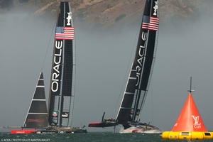 Oracle Team USA's two AC72 catamarans training in San Francisco. Docked points are considered the most likely. Photo / ACEA