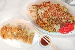 Gyoza fried dumplings and chicken yakisoba.Photo / Nicky Park