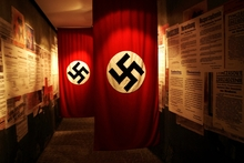 Chilling swastikas hang in the Oskar Schindler Museum.