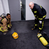 Firefighters, Jonathan Jayendran from East Coast Bays (L) and Ben Gribben from Waitoa take part in a stair challenge in the old BNZ Tower to commemorate the 911 terrorist attack on New York. Photo / Dean Purcell