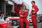 F1 rivals James Hunt (Chris Hemsworth, left) and Niki Lauda (Daniel Bruhl) in a scene from Ron Howard's RUSH.