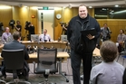 Kim Dotcom at the hearing into the GCSB in July. He accuses police of an