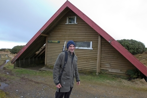 Hunter Kane Hitchman from Feilding, pictured at A Frame Hut in the Ruahine Range. The shelter has been vandalised and the water tank stolen. Photo / Glenn Taylor