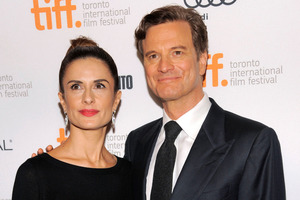 Colin Firthwith his wife Livia Giuggioli on the red carpet at the Toronto International Film Festival.  Photo / AP