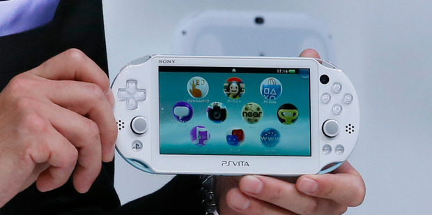 The new model of PSVita is unveiled at a press event in Tokyo. Photo / AP