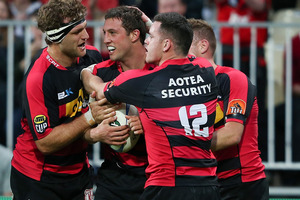 Canterbury survived a scare to triumph 32-22 and move above Auckland in second spot. Photo / Getty Images.