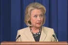Speaking after a meeting with President Obama, Hillary Clinton says a Russian proposal to have Syria surrender its chemical weapons to international hands is only viable with a credible US military threat to keep pressure on the Assad regime.