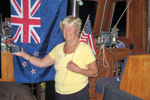 Dianne Langefeld keeps up with America's Cup news on nzherald.co.nz in San Diego.