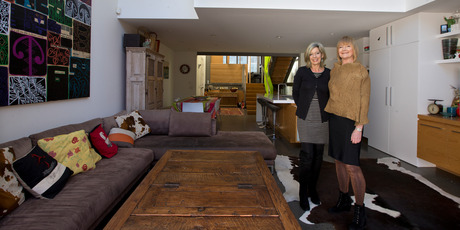 Architect's Jane Aimer and Lindley Naismith (L-R) inside Jane Aimer's apartment on Middleton Road, Remuera. Photo / Brett Phibbs