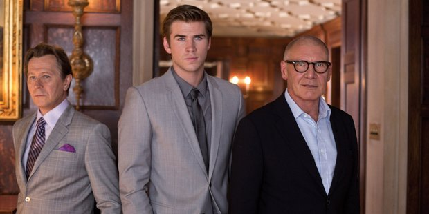 Liam Hemsworth, centre, gets caught in a powerplay between Gary Oldman and Harrison Ford in Paranoia.
