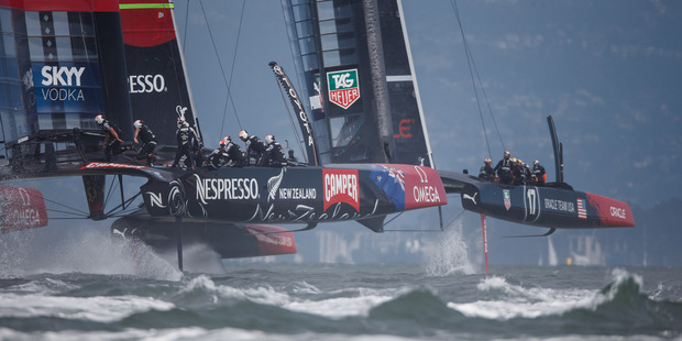 Loading Team NZ's quick switch from winner to loser on day two of America's Cup racing showed how simple mistakes can quickly change the game. Photo / Abner Kingman