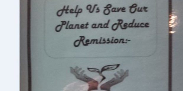 A reader spotted this environmentally minded sign in a hotel bathroom in Hamilton.
