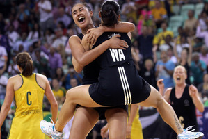 Maria Tutaia and Temepara George celebrate winning gold at the 2010 Delhi Commonwealth Games. Photo / Getty Images