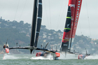 Oracle leads Team New Zealand at the start of Race 5 yesterday on San Francisco Bay. The New Zealand boat proved to have superior speed upwind and went on to win the race.