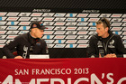 Jimmy Spithill and Dean Barker eyeball each other in front of the media.