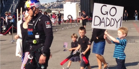 Oracle skipper Jimmy Spithill with his (small) dedicated team of supporters.