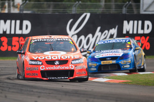 V8 Supercars defending champion and series leader Jamie Whincup leads the way at Winton. Picture / Edge Photographics