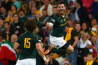 Willie Le Roux of the Springboks celebrates scoring a try. Photo / Getty Images