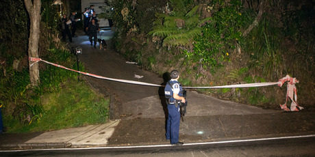 Police at the scene of a double stabbing in Titirangi. Photo / Bradley Ambrose