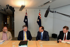 Labor is now searching for a new leader to take on Prime Minister-elect Tony Abbott (second from right). Photo / AP