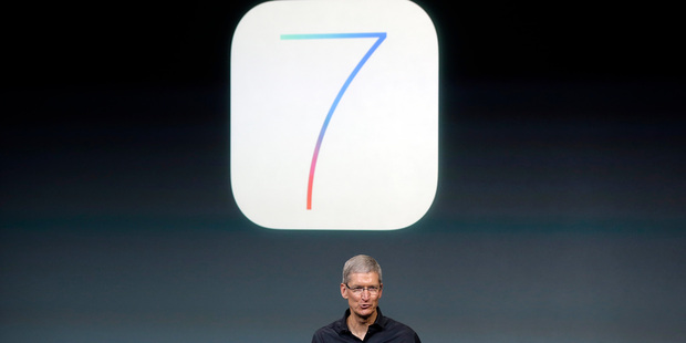 Loading Tim Cook, CEO of Apple, speaking at the Apple launch this morning. Photo / AP