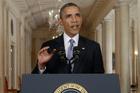 President Barack Obama addresses America on TV. Photo / AP