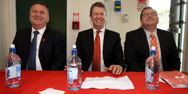Labour Party leadership candidates David Cunliffe, Shane Jones and Grant Robertson agree that reconnecting with party members has been hugely encouraging. Photo / APN