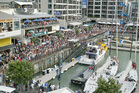 The Viaduct Harbour filled with fans during the America 's Cup in 2003. Photo / Martin Sykes