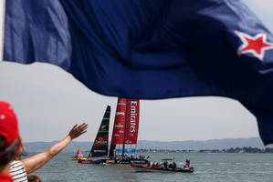 A good week will end fantastically if Emirates Team New Zealand win today. Photo / Abner Kingman