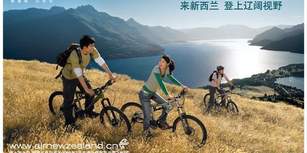 Air New Zealand's billboards in China reflect a change in Chinese tastes towards activity-based holidays.