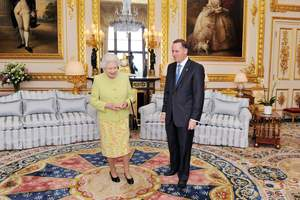 Queen Elizabeth II and John Key in the White Room at Windsor Castle in 2011. Photo / AP