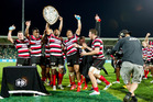HBT132560-06.JPG Counties players celebrate winning the Ranfurly Shield at the home of the Hawke's Bay Magpies during the ITM Cup game at McLean Park in Napier on Saturday. Photo / Glenn Taylor.