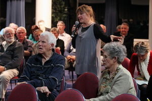 Napier resident Tessa Tylee asks the commissioners a question about wards at the Local Government Commission meeting last night. Photo / Duncan Brown