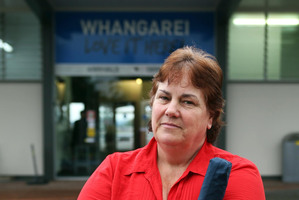 FRUSTRATED: Passenger Theresa Leslie travelled in a van arranged by Air New Zealand after she and others were bumped off their flight to Whangarei due to rain and flying restrictions. Photo / JOHN STONE