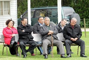 The Paepae Rangatira -from left, Esther Tinirau, Mike Neho, Marty Davis, Mark Pirikahu, and at back, Aarona McGregor and Hayden Potaka.