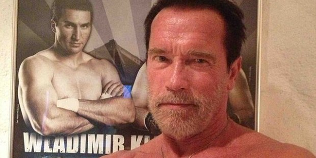 Wladimir Klitschko and Arnold Schwarzenegger swap muscle pics on Twitter. Photo / Twitter