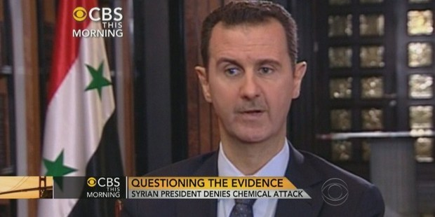 This frame grab courtesy of CBS News shows Syrian President Bashar al-Assad during an interview with CBS news anchor Charlie Rose. Photo / AFP