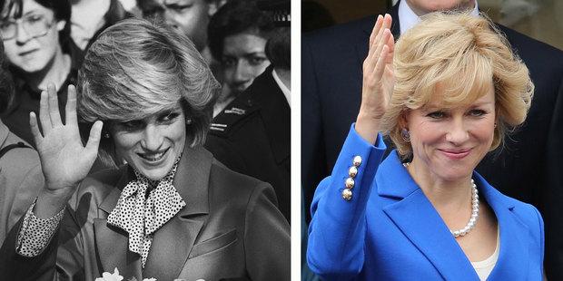 Princess Diana and Naomi Watts as her in Diana. Photo / AP