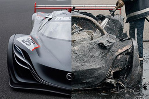 Mazda's Furai concept car before and after the fire that destroyed it. Photo / Supplied