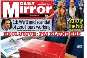 The Mirror's front page. Photo / Twitter
