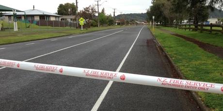 The scene in River Rd, Kawerau this morning. Photo / Lani Hepi