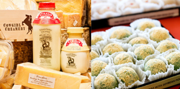 A selection of delicious cheeses and milk from the Cowgirls Creamery in the San Francisco ferry Building and fresh Mochi balls from Benkyodo in Japan Town, San Francisco.