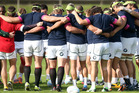 The Springboks perform a team huddle during a South Africa Springboks training session. Photo / Getty Images.