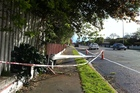 The wind helped knock down this street lamp in Christchurch. Photo / APNZ