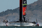 Emirates Team New Zealand skippered by Dean Barker warms up before racing. Photo / Getty Images