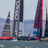 Emirates Team New Zealand battle it out with Oracle to win Race 11 of the America's Cup. Photo / Brett Phibbs