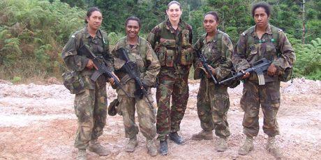 Four Officer Cadets and NZ Army Capt Tiplady. L-R OC Saroa, OC Esward, CAPT Tiplady, OC Moiya and OC Nul.